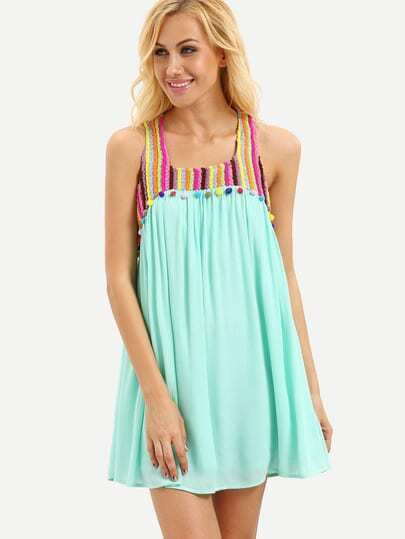 Mint Green Sleeveless Pom Pom Trim Shift Dress