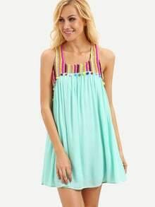 Mint Green Sleeveless Pom Pom Trim Shift Dress
