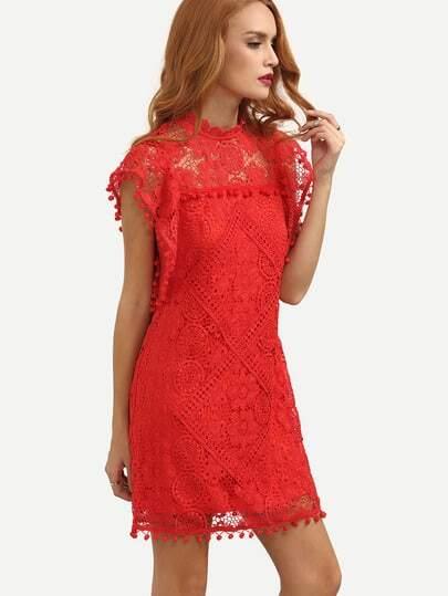 Red Cap Sleeve Pom Pom Trim Hollow Dress