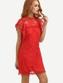 Red Cap Sleeve Pom Pom Trim Hollow Dress