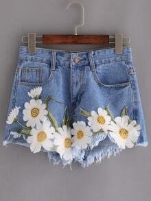 Shorts bordado flor aplique denim -azul