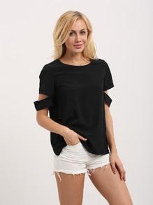 Black Short Sleeve Cut Away Casual Blouse