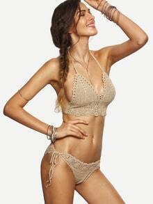 Khaki Halter Neck Crochet Bikini Set
