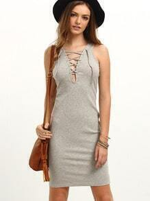Grey Sleeveless Lace Up Knee Length Dress
