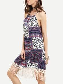 Multicolor Sleeveless Vintage Print Tassel Dress