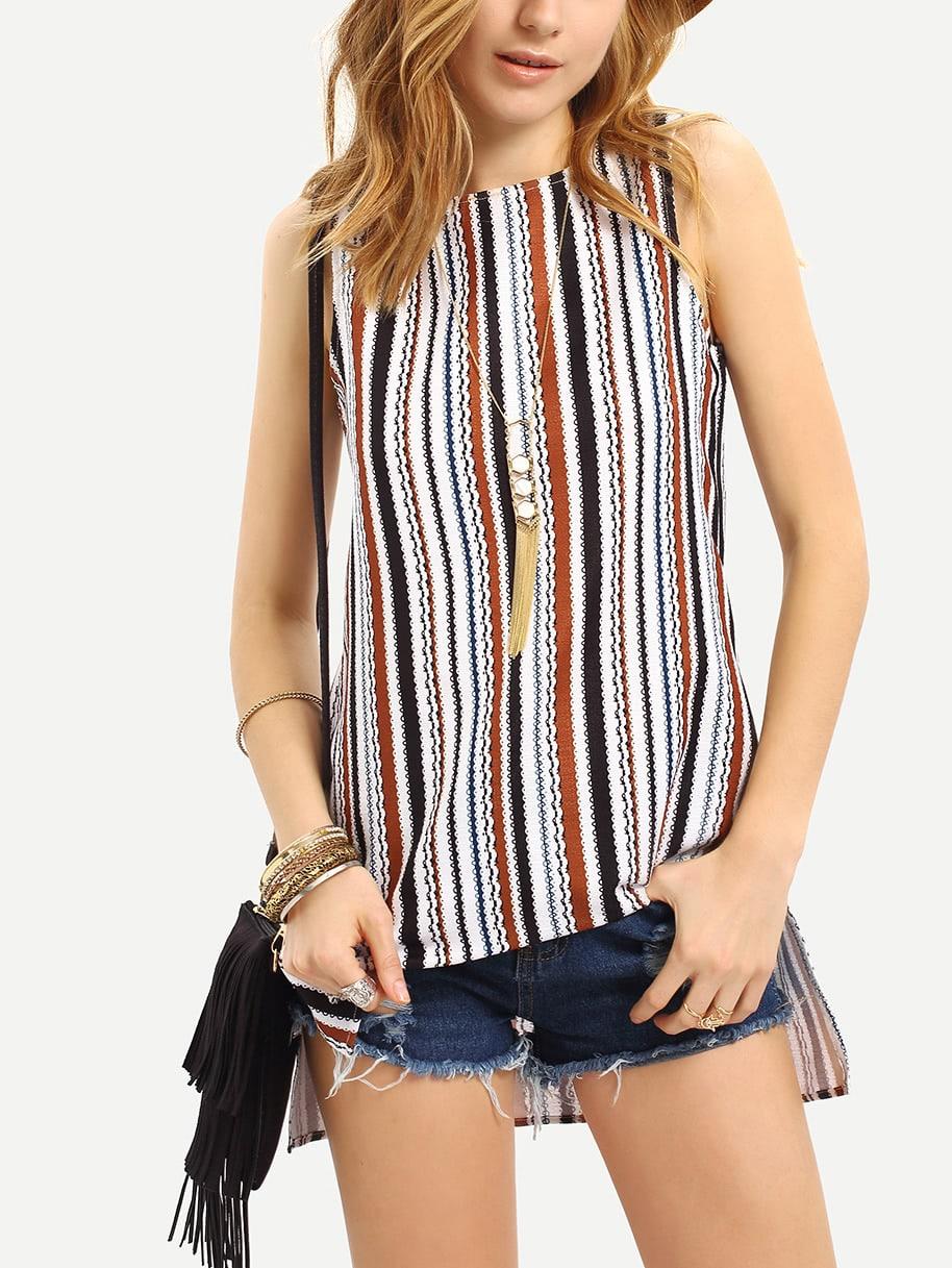 Фото Striped Split Side Sleeveless Blouse. Купить с доставкой