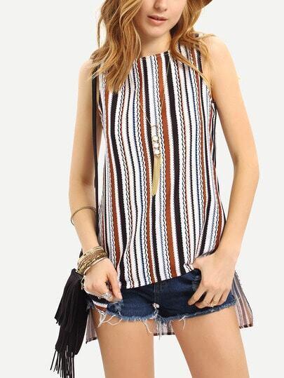 Multicolor Striped Split Side Sleeveless Blouse
