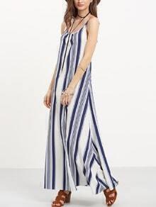 Multicolor Striped Open Back Maxi Dress