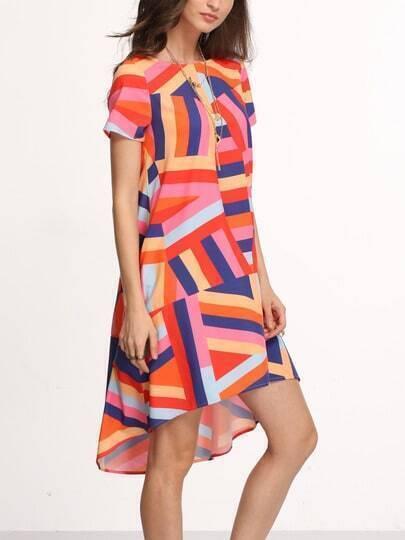 Color-block Short Sleeve High Low Shift Dress