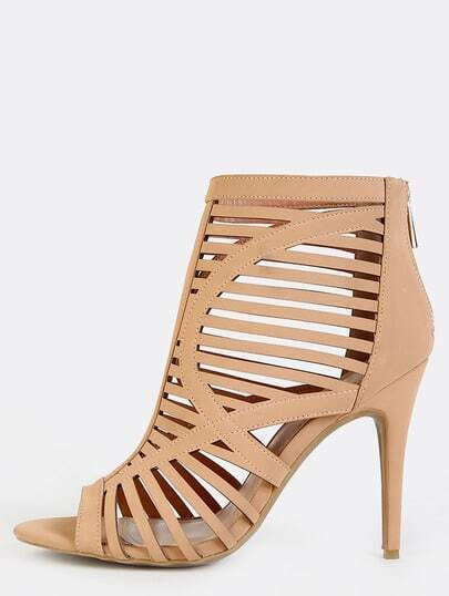 Caged Cut Out Stiletto Booties BLUSH