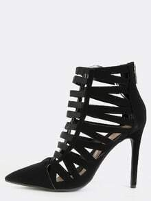 Pointy Toe Caged Stiletto Heels BLACK