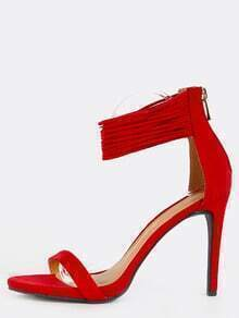 Layered Ankle Straps Stiletto Heels RED