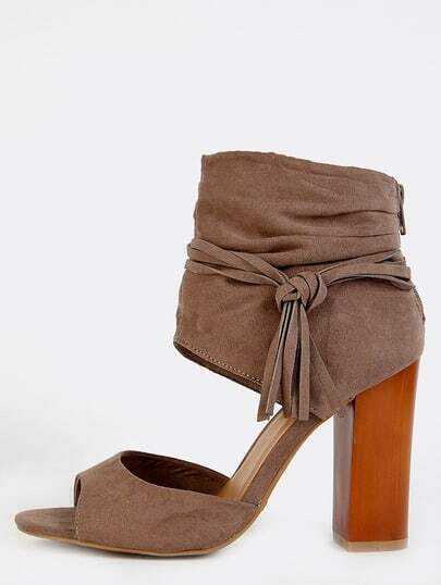 Tassel Ankle Cuff Chunky Heels TAUPE