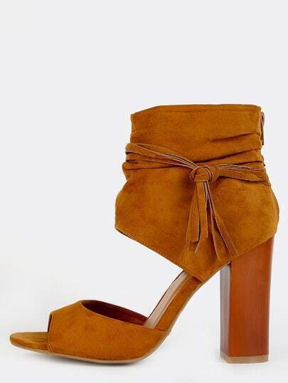 Faux Suede Ankle Cuff Chunky Heels COGNAC