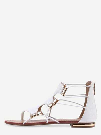 White Zipper Cut Out Flip Flat Sandals