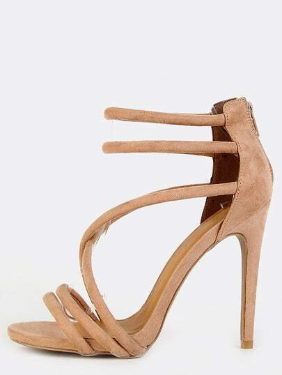 Strappy Criss Cross Stiletto Heels TAUPE
