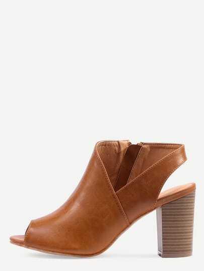 Asymmetric Cut High Vamp Stacked Heel Pumps - Camel