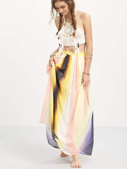 Multicolor Patchwork Chiffon Maxi Skirt
