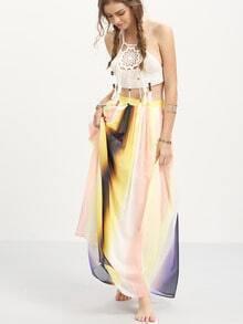 Multicolor Patchwork Chiffon Maxi Skirt