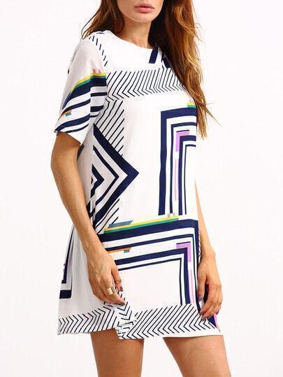 Pleated Back Multicolor Geometric Print Dress