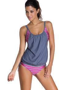 Double Up Striped Mix & Match Tankini Set