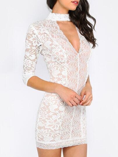 Beige Cut Out Half Sleeve Lace Dress