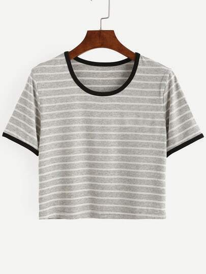 Grey Striped Short Sleeve T-shirt