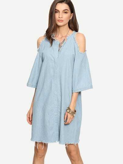 Light Blue Raw Trim Cold Shoulder Shift Dress