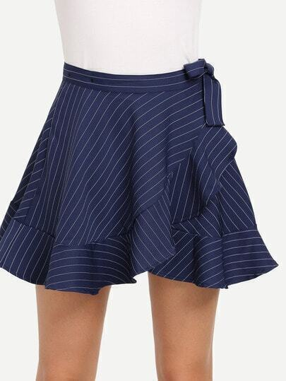 Blue Striped Self Tie Ruffled Skirt
