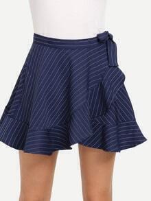 Blue Striped Self Tie Ruffled Skirt