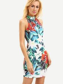 Multicolor Sleeveless Flower Print Cut Out Bodycon Dress