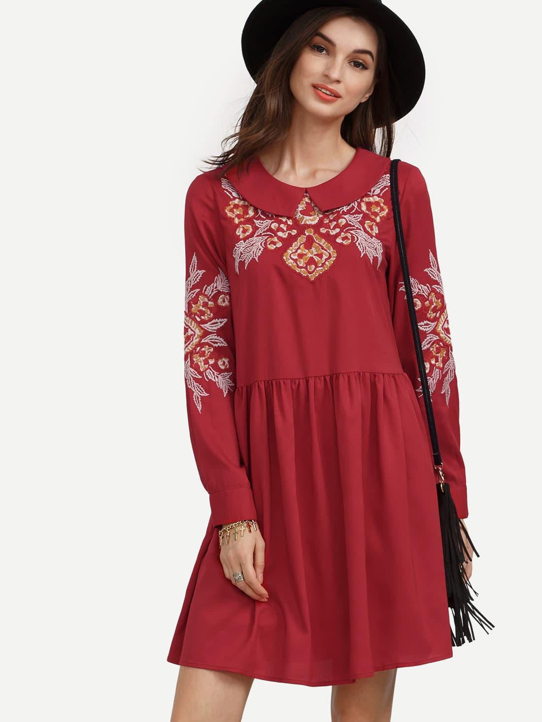 Red Crew Neck Floral Embroidered Dress -SheIn(Sheinside)