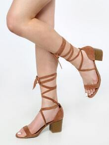 Lace Up Faux Suede Stacked Heels CAMEL