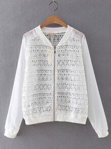 White Long Sleeve Rib-knit Cuff Crochet Jacket