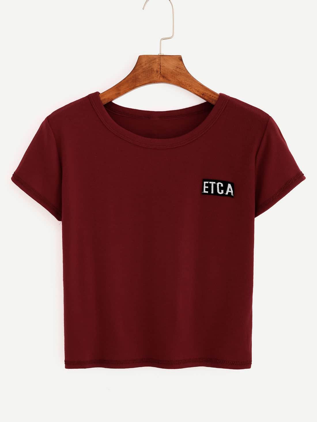 Фото Letter Embroidered Crop T-shirt. Купить с доставкой