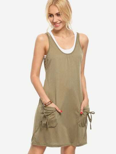 Olive Green Double Layer Tank Dress With Pockets