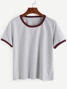 Grey Contrast Trim Crop T-shirt