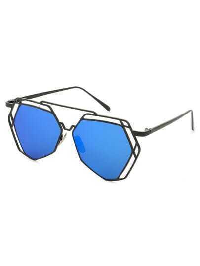 Black Metal Frame Hollow Sunglasses