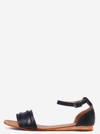 Black Ankle Strap Flat Sandals