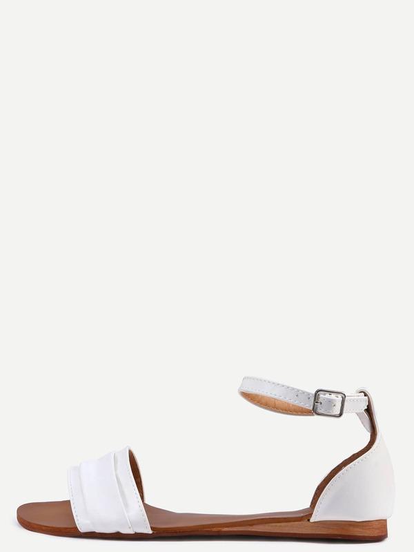 4e83fa68cec White Ankle Strap Flat Sandals -SheIn(Sheinside)