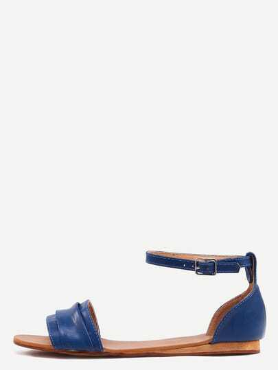 Blue Ankle Strap Flat Sandals