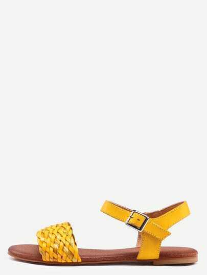 Yellow Buckle Strap Flat Sandals