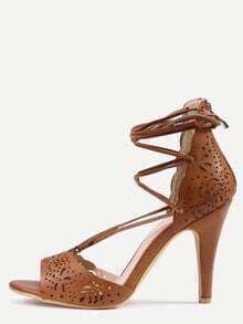 Laser-Cut Lace-Up Peep Toe D'orsay Sandals - Camel
