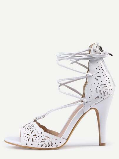 Laser-Cut Lace-Up Peep Toe D'orsay Sandals - White