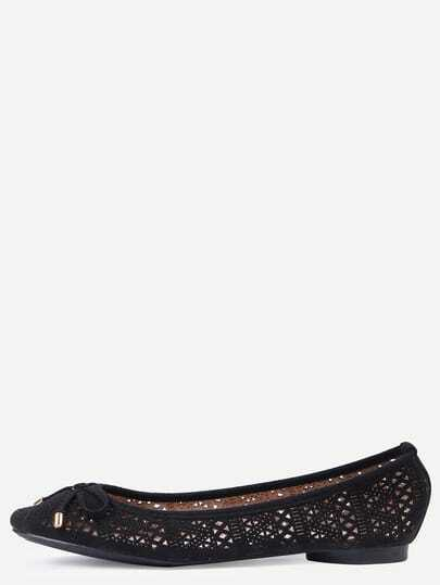 Faux Leather Bow Tie Ballet Flats - Black