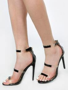 Single Sole Clear Strap Heels BLACK