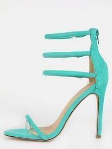 Faux Suede Strappy Stiletto Heels MINT