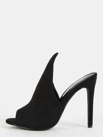 Peep Toe Stiletto Mule Heels BLACK