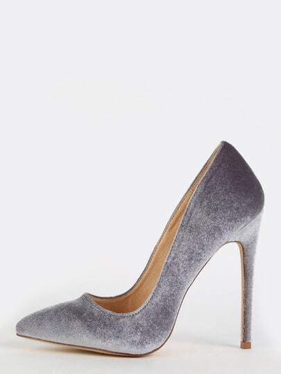 Pointy Toe Velvet Stiletto Heels GREY