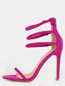 Strappy Suede Single Sole Heels PURPLE